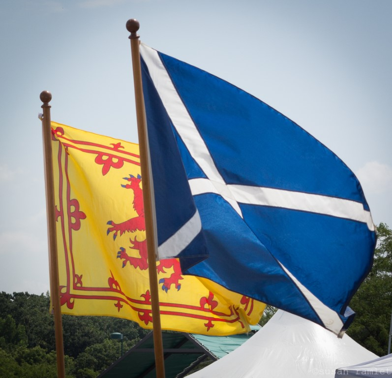 Scottish flags flying at the Minnesota Scottish Fair & Highland Games